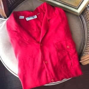 Vintage | Bright Coral Short Sleeved Button Down